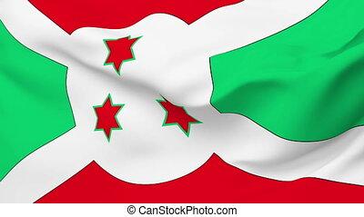 Flag of the Burundi waving in the wind. Seamless loop