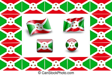 flag of Burundi. icon set