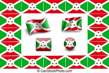 flag of Burundi. icon set