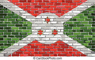 Flag of Burundi on a brick wall