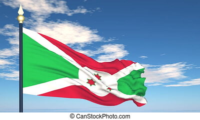 Flag Of Burundi on the background of the sky and flying clouds.