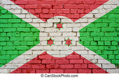 Flag of Burundi painted on brick wall, background texture
