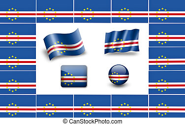 flag of Cabo Verde. icon set