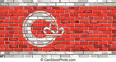 Flag of Calgary on a brick wall