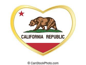 Flag of California in heart shape, golden frame