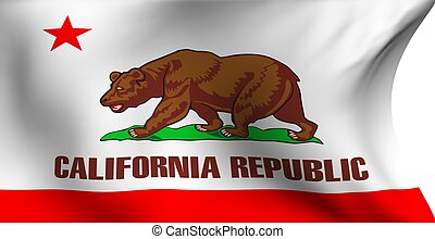 Flag of California, USA against white background. Close up.