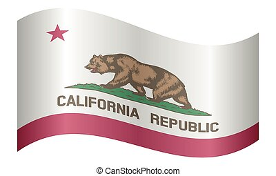 Flag of California waving on white background - Californian...
