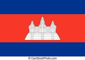 Flag of Cambodia, correct size and colors, vector