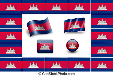 flag of Cambodia. icon set