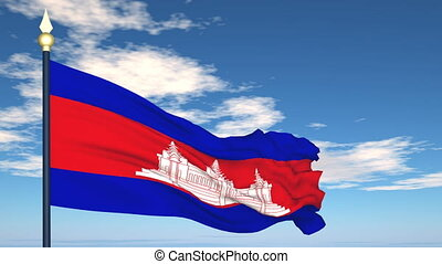 Flag Of Cambodia on the background of the sky and flying...