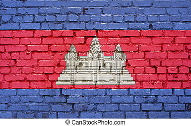 Flag of Cambodia painted on brick wall, background texture
