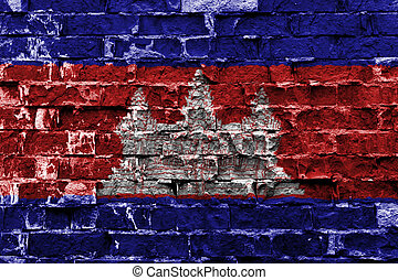 Flag of Cambodia painted on brick wall
