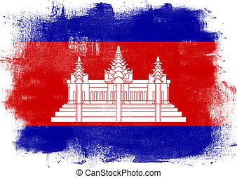 Flag of Cambodia painted with brush