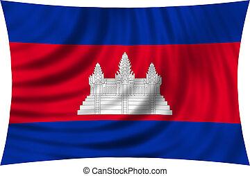 Flag of Cambodia waving isolated on white