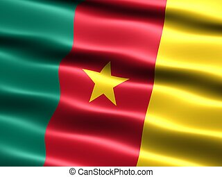 Flag of Cameroon, computer generated illustration with silky appearance and waves
