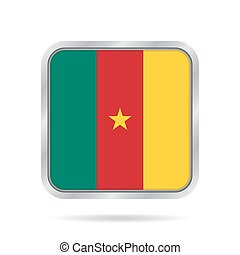Flag of Cameroon. Metallic gray square button.