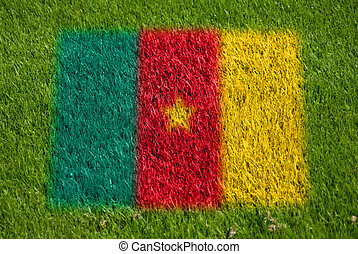 flag of cameroon on grass