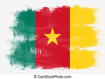 Flag of Cameroon painted with brush