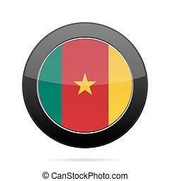 Flag of Cameroon. Shiny black round button.