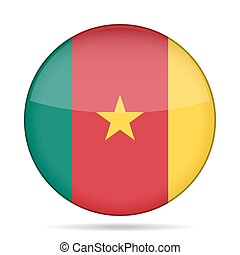 Flag of Cameroon. Shiny round button.