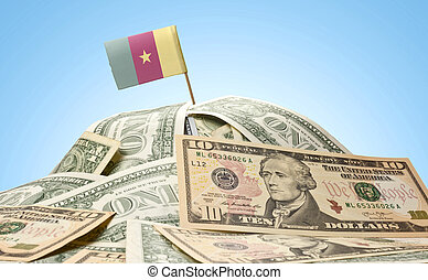 The national flag of Cameroon sticking in a pile of american dollars.(series)