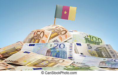 The national flag of Cameroon sticking in a pile of mixed european banknotes.(series)