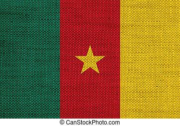 Flag of Cameroun on old linen