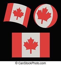 flag of Canada 3d set vector illustration.