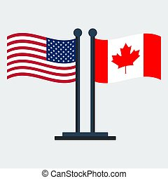 Flag Of Canada and United States. Flag Stand. Vector Illustration