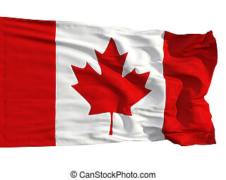 Flag of Canada, fluttered in the wind. Sewn from pieces of...