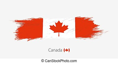 Flag of Canada, grunge abstract brush stroke on gray background.