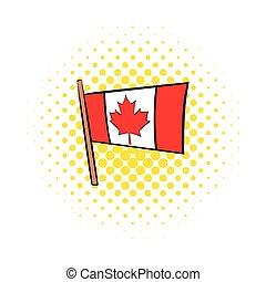Flag of Canada icon, comics style