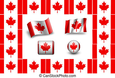 Flag of Canada. icon set. flags frame.