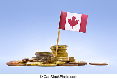 Flag of Canada in a stack of coins.(series)
