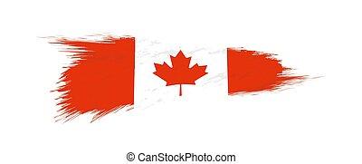 Flag of Canada in grunge brush stroke.