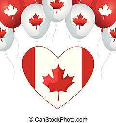 flag of canada in heart shape with balloons helium