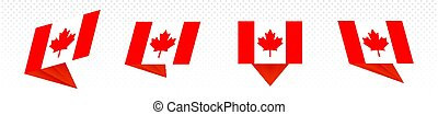 Flag of Canada in modern abstract design, flag set.