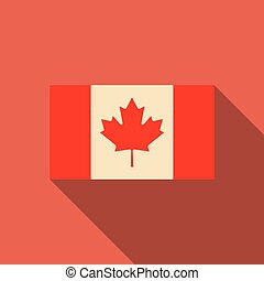 Flag of Canada in national official colors and proportions with a maple leaf, vector