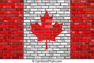 Flag of Canada on a brick wall with effect