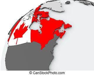 Flag of Canada on grey globe