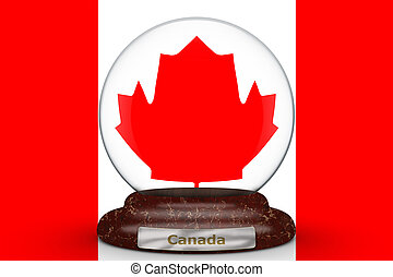 Flag of Canada on snow globe