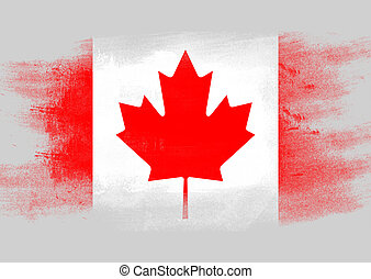 Flag of Canada painted with brush