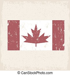 flag of canada red maple leaf  grunge vector design template