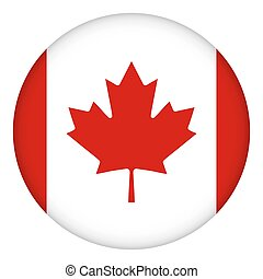 Flag of Canada round icon, badge or button. Canadian national symbol. Template design, vector illustration.
