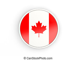 Flag of canada. Round icon with frame
