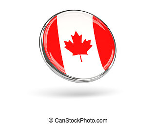 Flag of canada. Round icon with metal frame