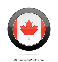 Flag of Canada. Shiny black round button.