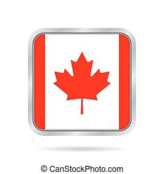 Flag of Canada. Shiny metallic gray square button.