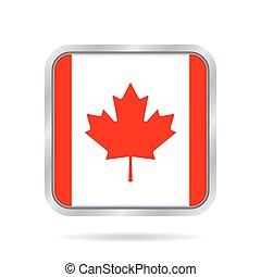 Flag of Canada. Shiny metallic gray square button.