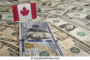 Flag of Canada sticking in various american...